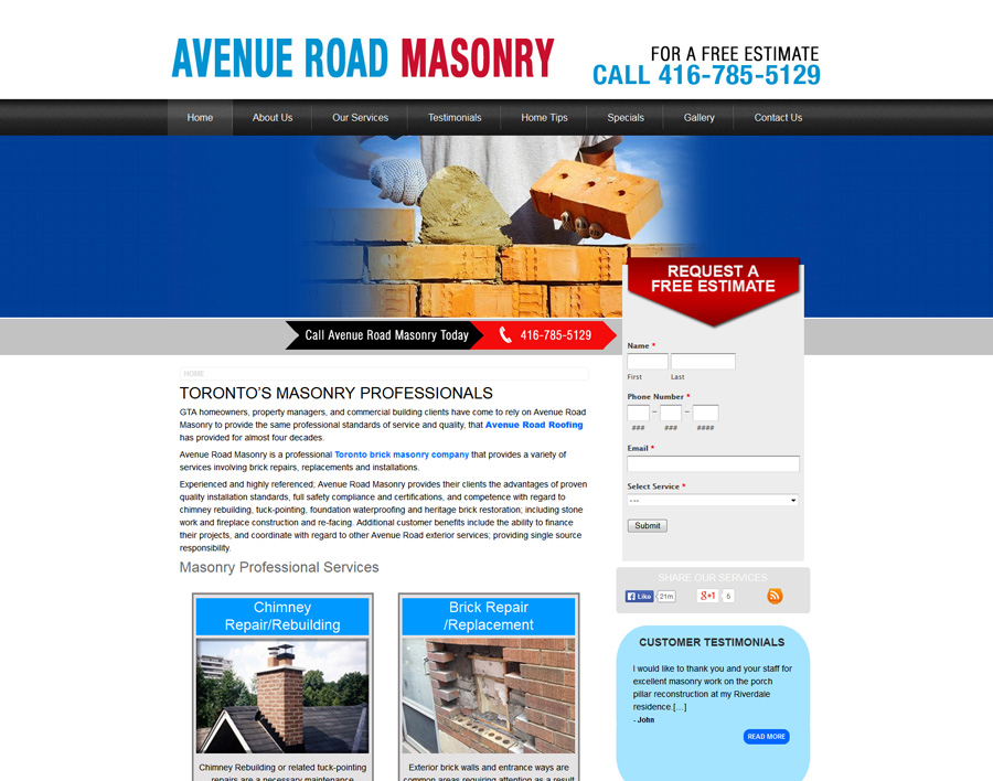 Avenue Road Masonry-web design