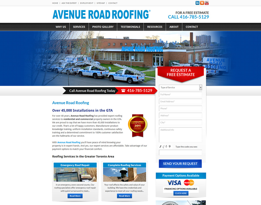 Avenue Road Roofing-web design