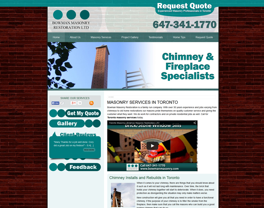 Bowman Masonry-web design