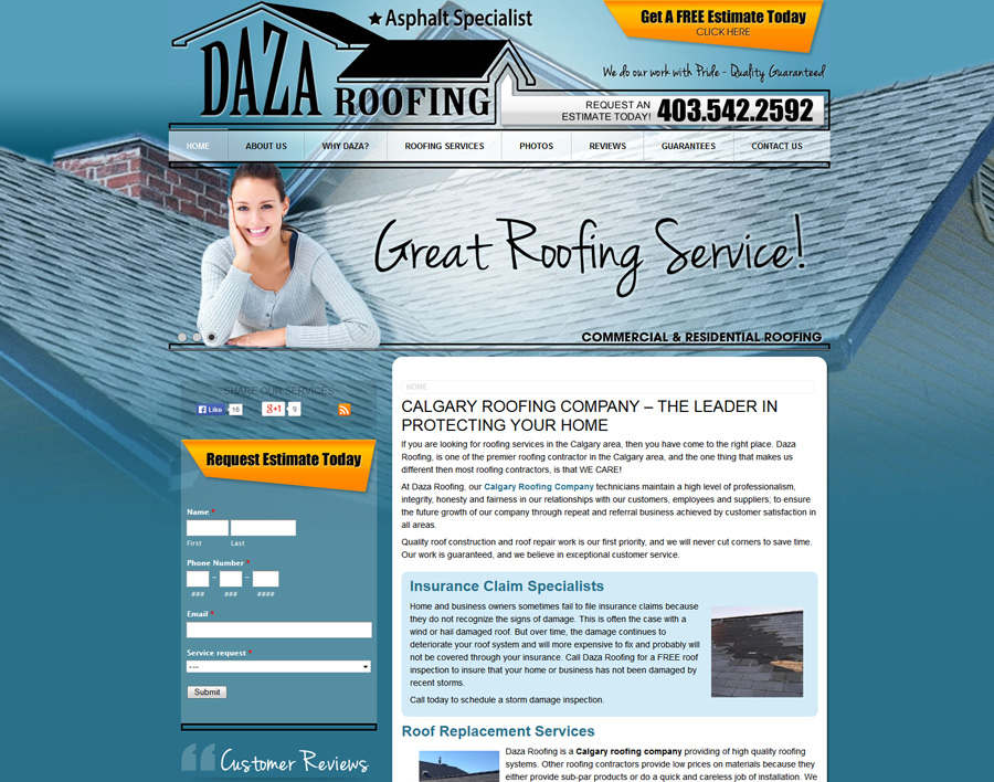 Daza Roofing-web design