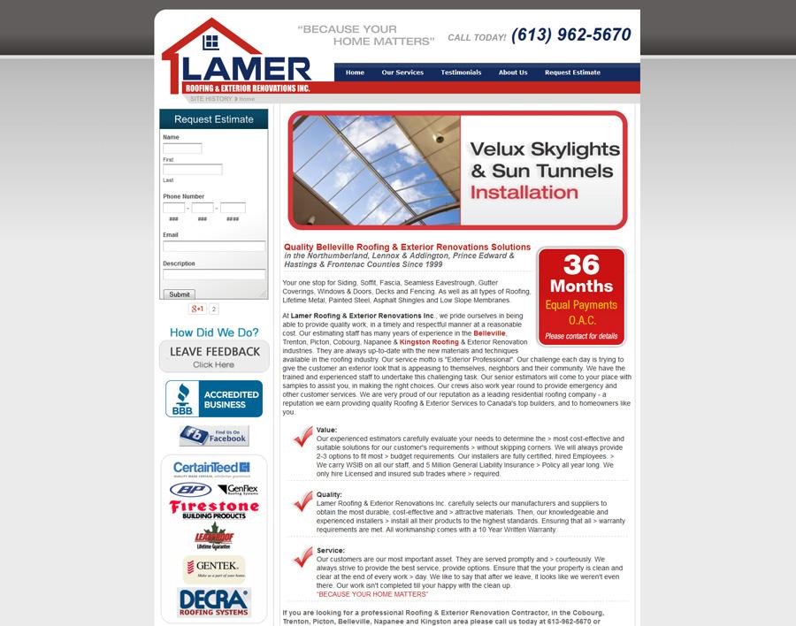 Lamer Roofing-web design