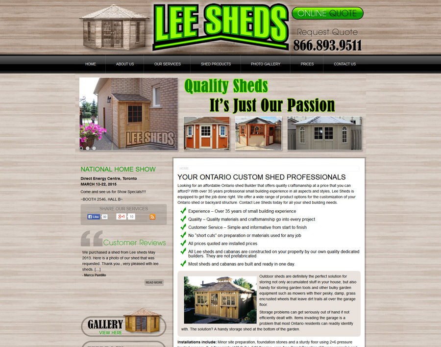 Lee Sheds-web design