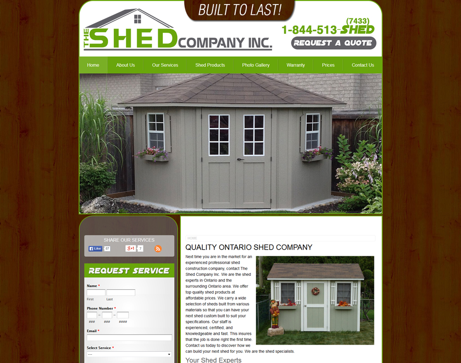 The Shed Company-web design