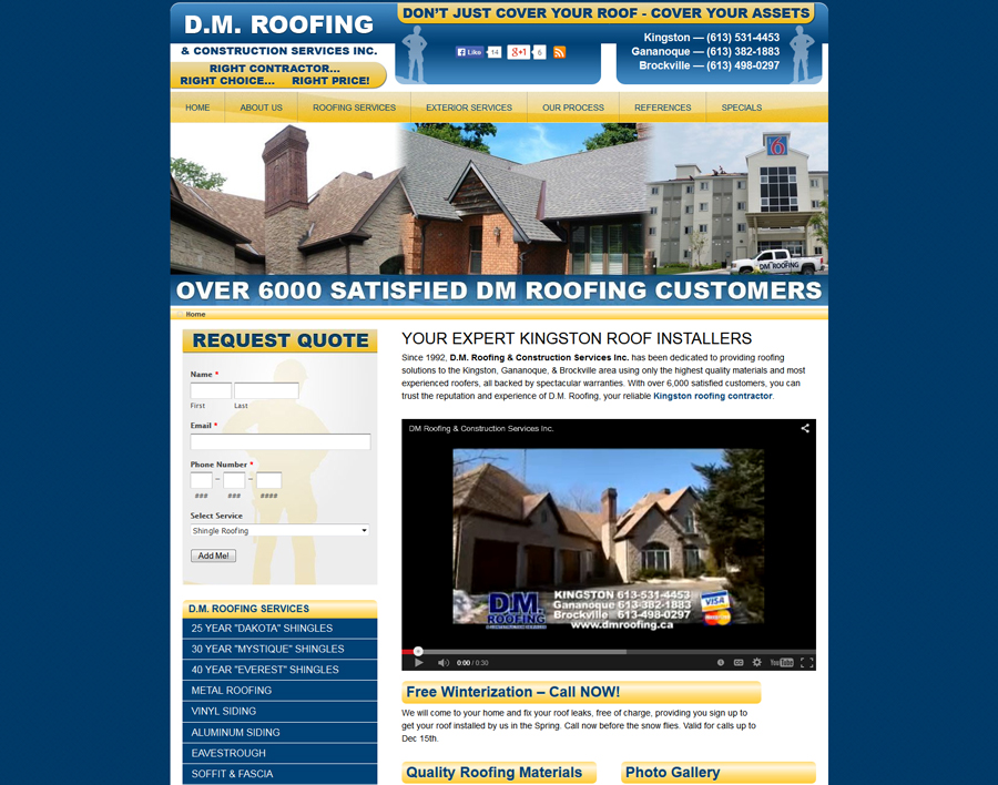 DM Roofing-web design
