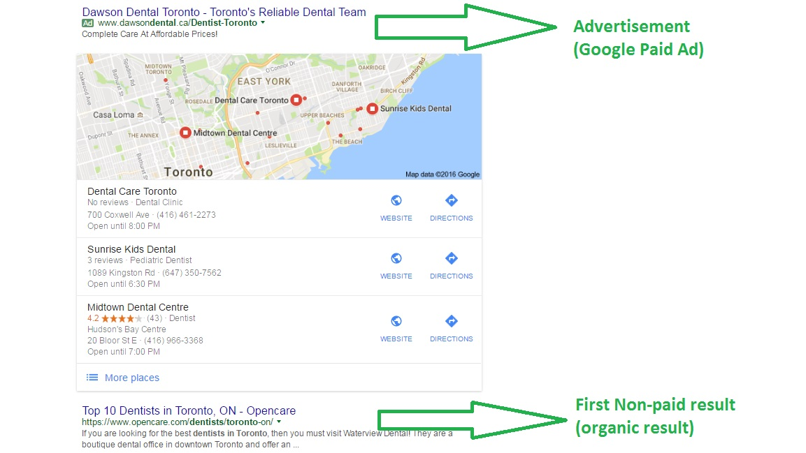 google paid ad and organic result