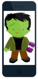 Frankenstein holding grape soda - sample seasonal promotion ad